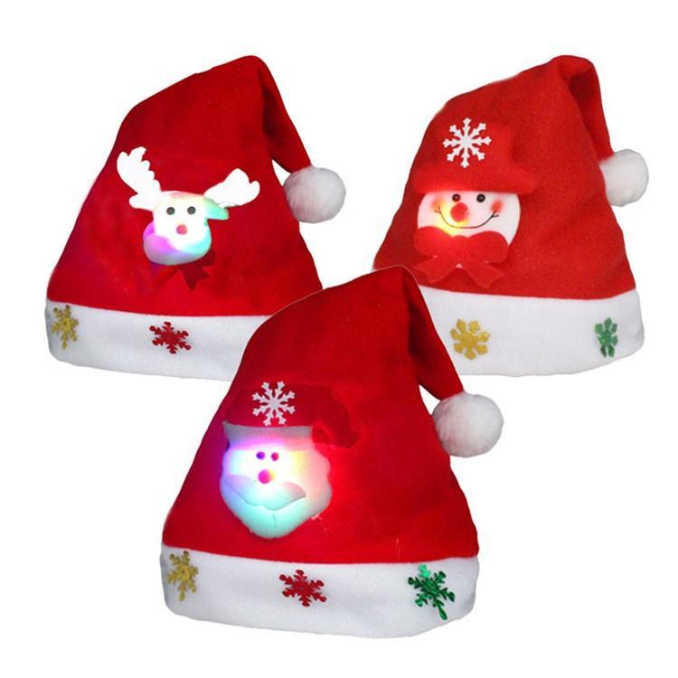 Kids Adult LED Lighting Christmas Hat Santa Claus Reindeer Snowman Deer Xmas Gifts Cap New Fashion Christmas Hats