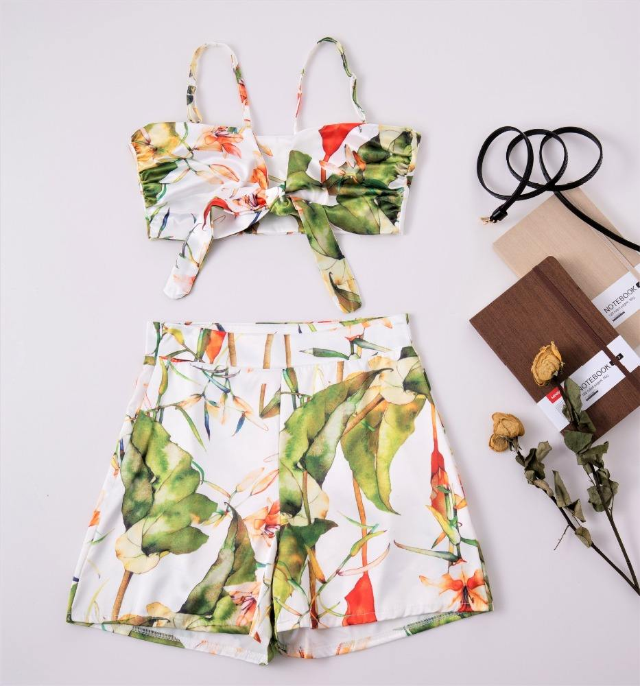 B13410A sexy lady 2 pieces summer beach floral shorts sets