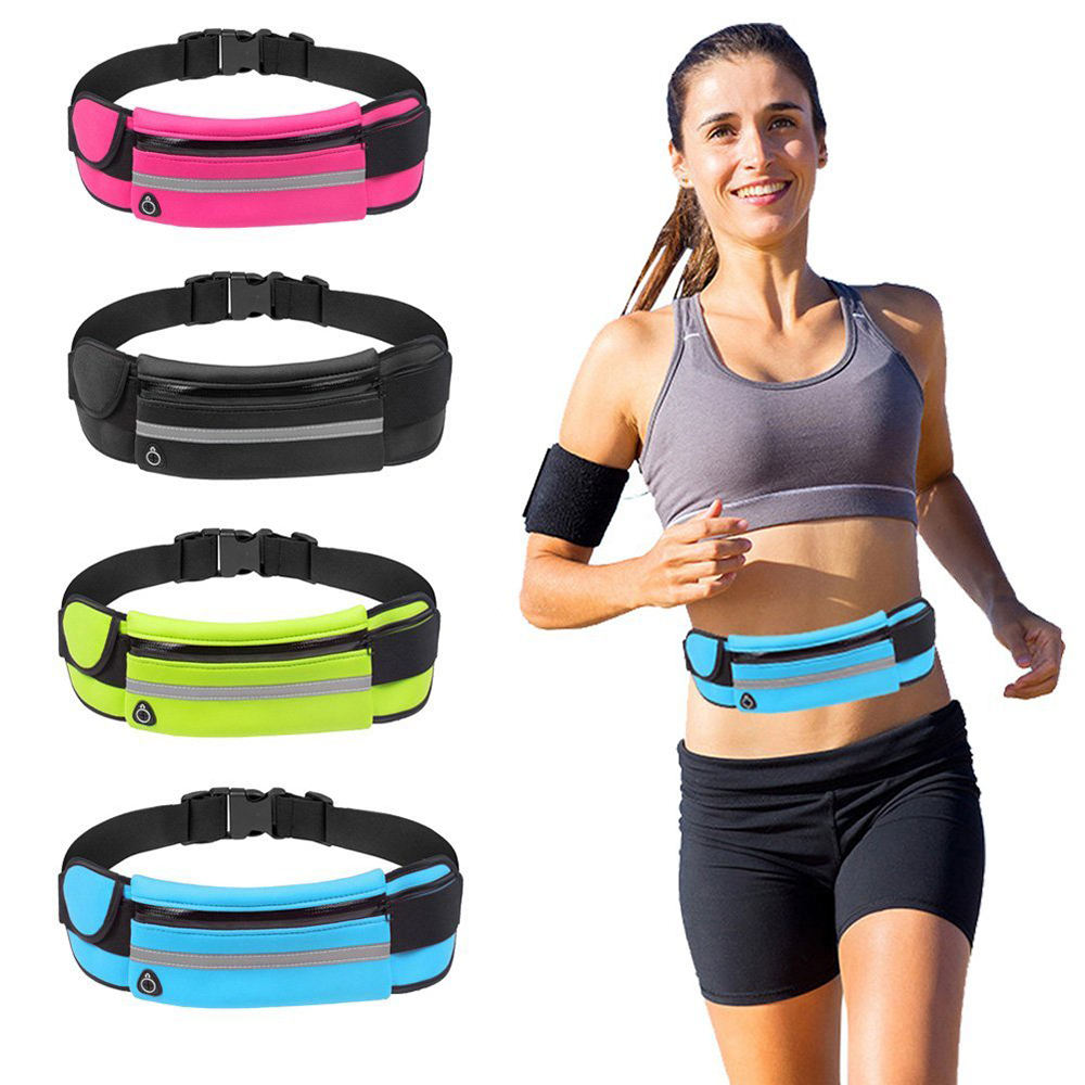 With Water Bottle Holder Expandable Sport Belt Running Waist Pack Waterproof Fanny Pack For Biking Hiking Camping