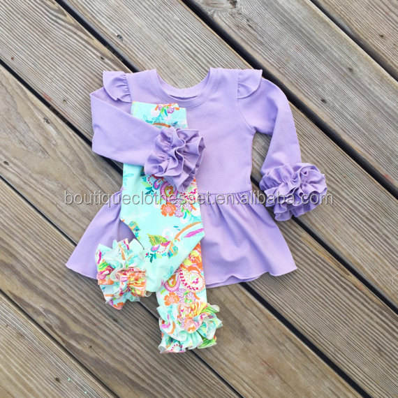 High quality girls boutique clothing 2017 new arrival boutique fall outfit cute kids ruffle fall sets