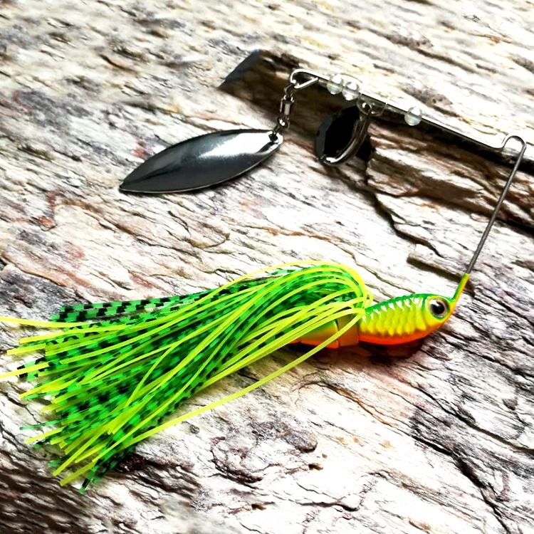 Free sample 16g Silicone skirt spinnerbait blades saltwater lead jig head fishing lure jigging spinner rubber jig buzz bait