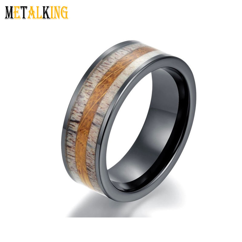 2019 New Design 8mm Black Tungsten Carbide Band Ring with Whiskey Barrel Oak wood and Deer Antler Inlay Mens Wedding Bands