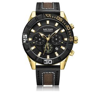 Black top ring gold watch for men leather chronograph megir brand quartz watch