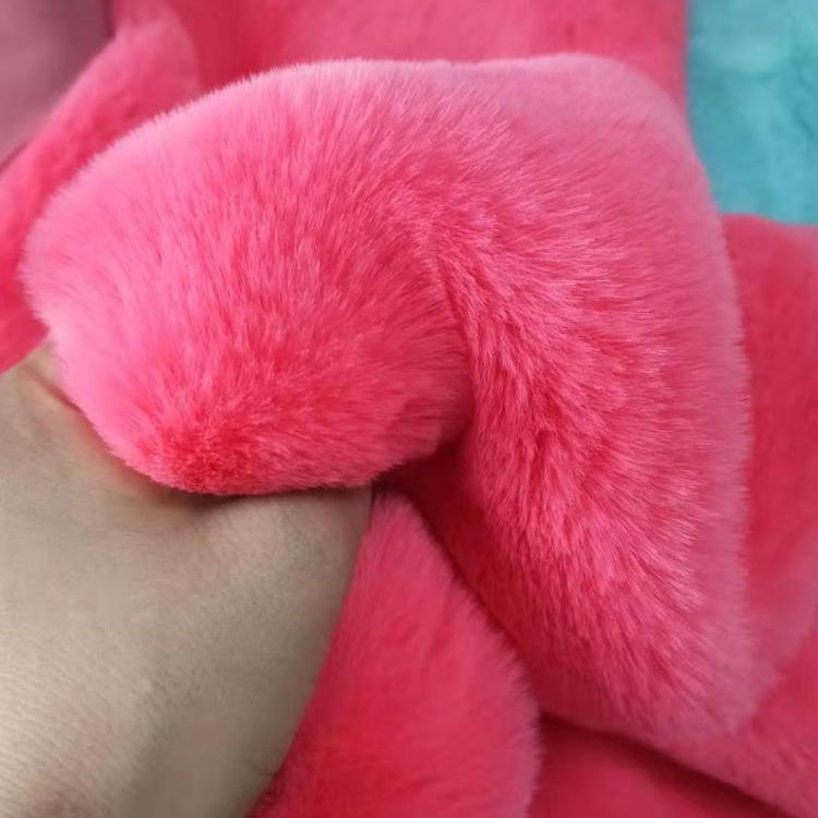 China factory wholesale short fur faux rabbit fur plush fabric dyed for garment toy bag