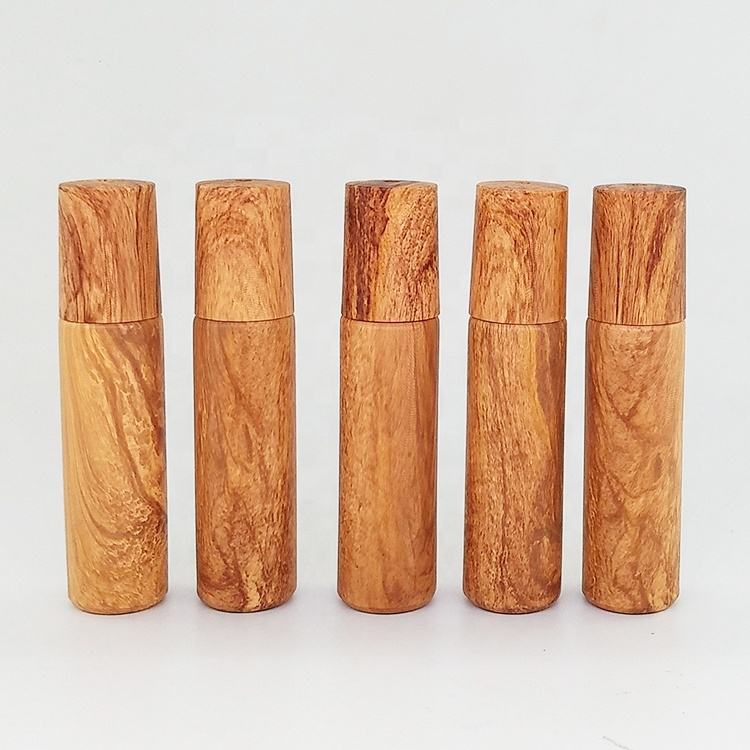 10ml colorful wood grain cap roller bottle 10ml water transfer printed wood grain frosted roll on glass bottle