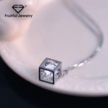 Personalized Silver Necklace 925 Sterling Crystals Cube Square Pendant Necklace for Christmas Gift
