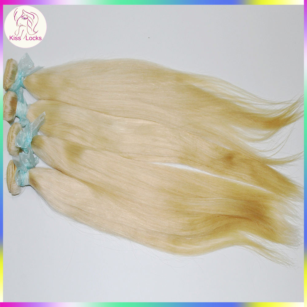 Platinum blonde 613 human hair extension braiding Straight texture White Color Reliable Supplier