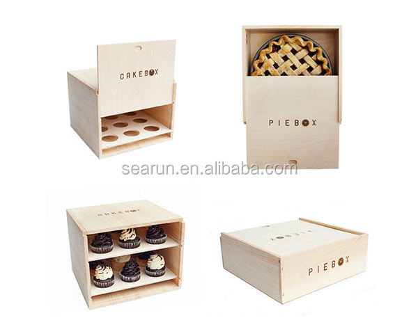 2 layers wooden cake packaging box wood bakery food pie storage box