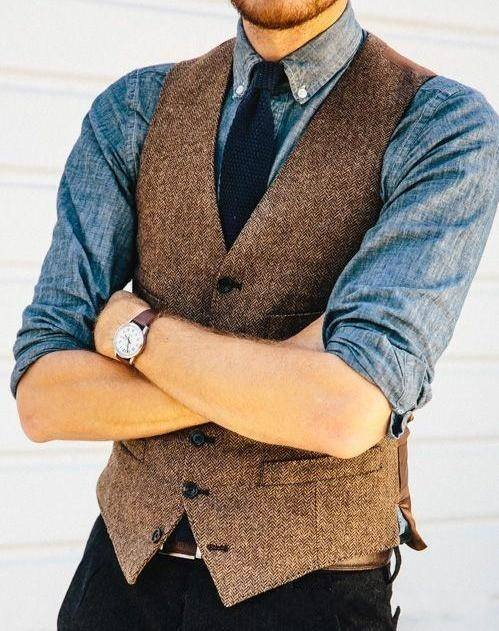 Brown Herringbone Tweed Suit Waistcoat Vests Slim Men Plus Size Farm Wedding Men Married Vests For Suit