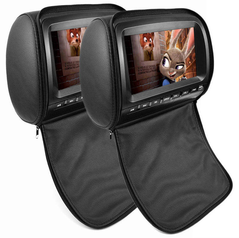 Hot Jual 7-inch Headrest Monitor DVD Player Mendukung DVD/USB/Sd/IR/FM Radio/game
