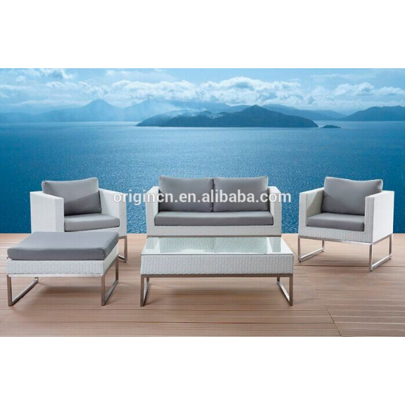 Greek style grey color office restaurant hotel commercial sofa set white rattan outdoor furniture