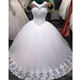 Real 100% actual full pearls beaded puffy plus size floor length white ivory cheap wedding dresses MWA348