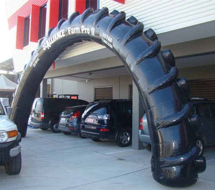AD inflatable arch with tyre shape