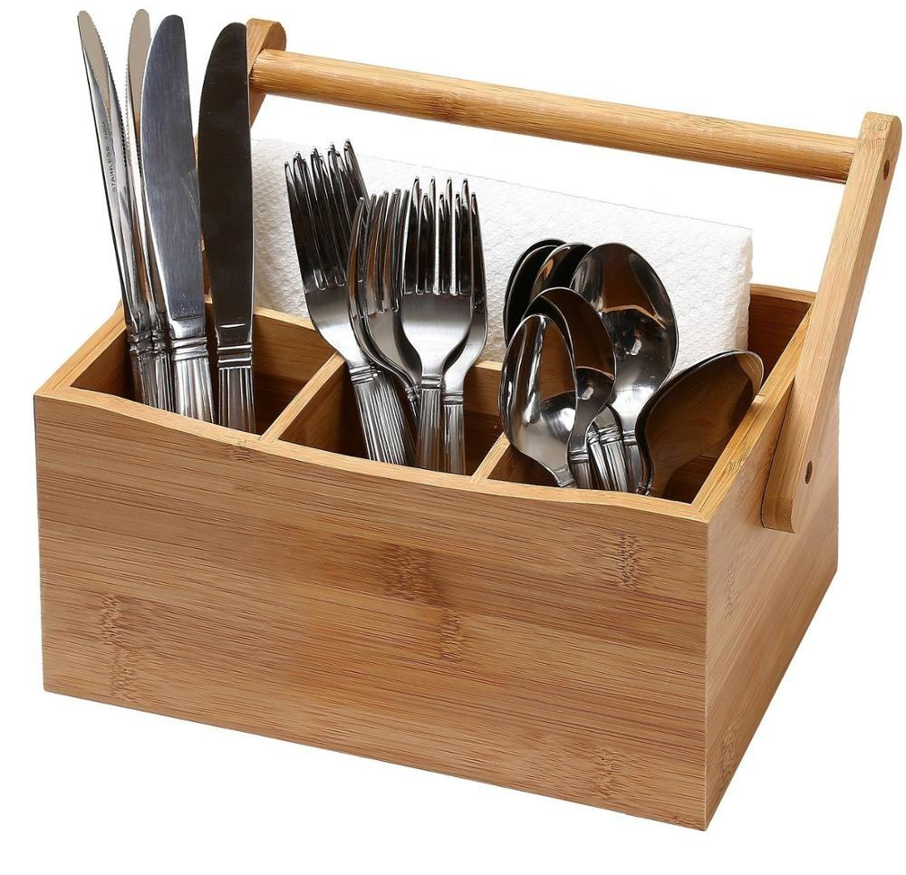 Kitchen Bamboo 4 Compartment kitchen Utensil Flatware Cutlery Caddy Holder with Handle