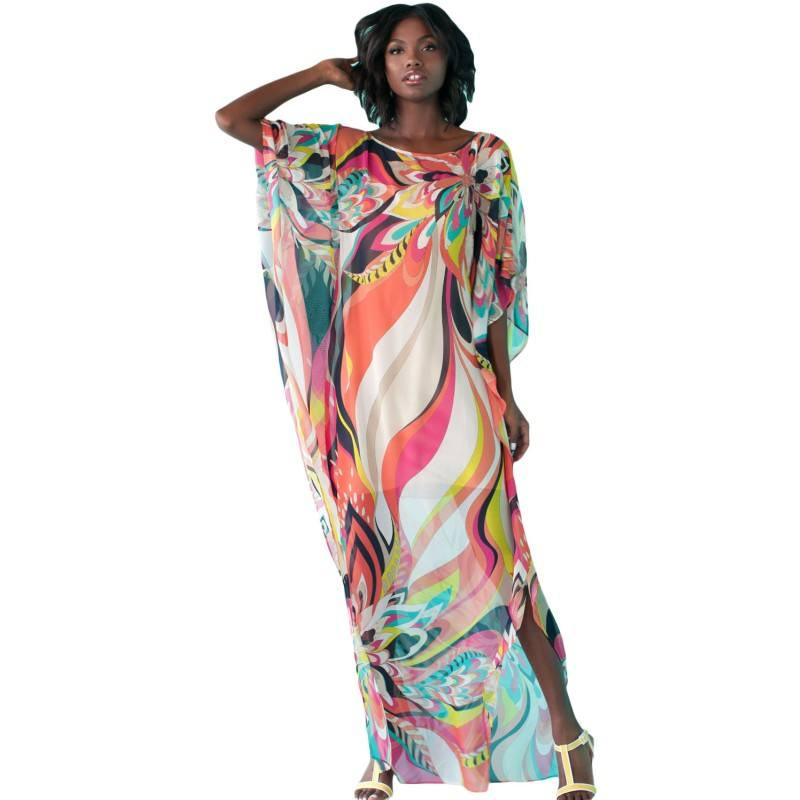 2018 Hot Sale Summer Trukey Style Charming Colorful Printed Cover Up Beach Dress Fashion Batwing Sleeve Loose Long Dresses