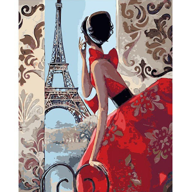 Elegent lady in Paris Eiffel Tower DIY painting by numbers oli painting art decoration