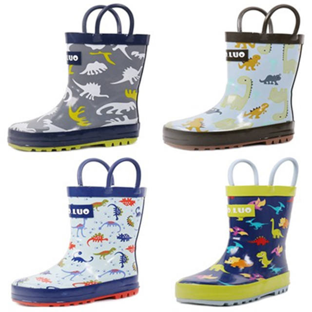 wholesale cheap waterproof glossy kids rubber rain boots