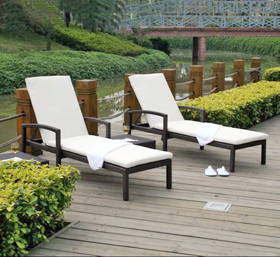 Poolside furniture rattan garden adjustable chaise lounge beach chair