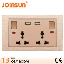 Double 2 gang 3 feet universal switch socket and USB socket plug