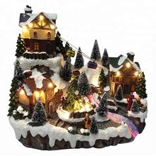 Custom made LED musical mountain house fiber optic resin Christmas village with rotating Xmas tree and moving cable car