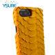 Leather Luxury Yellow Real Leather Snake Pattern Oil Side Back Cover PC Case For Iphone 7plus/8plus