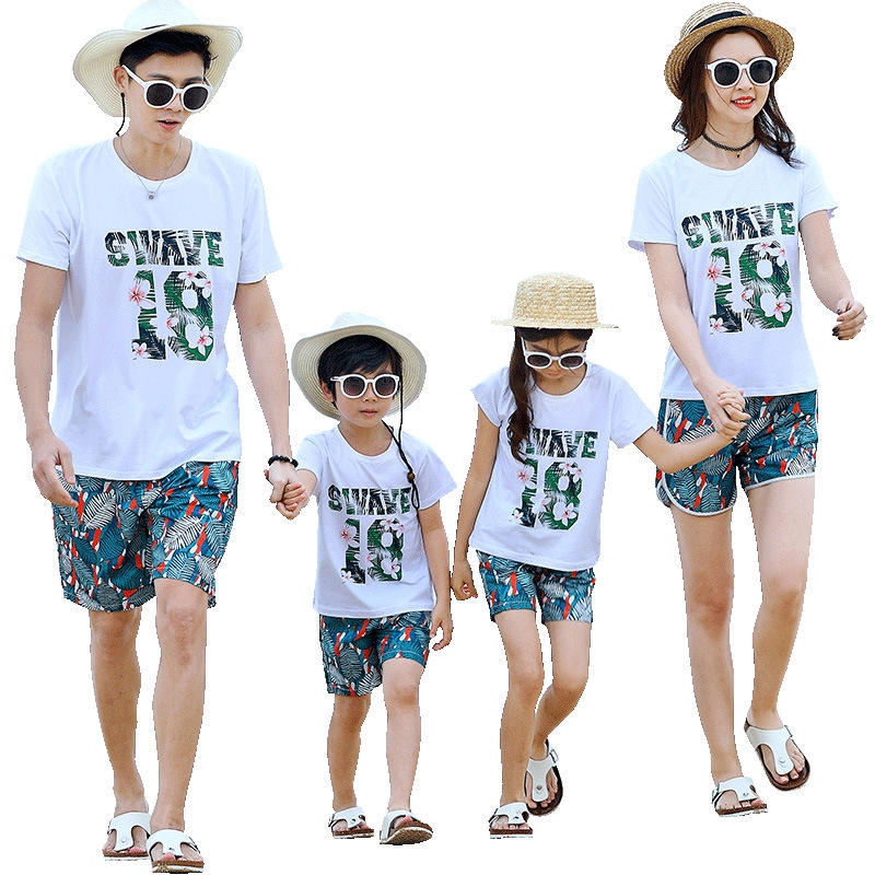 2019 summer beach clothing green and white two pieces cool family matching clothing set