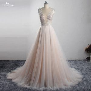 LZ321 Simply Deep V Neckline Soft Tulle Wedding Dress 2019 Two Bead Belts Bridal Dress Blush Colored Wildely Boho Dress