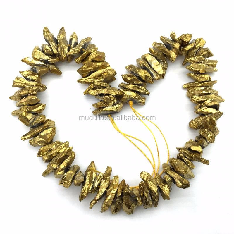 BE1762 Gold Titanium Electroplated Nugget Beads Golden Crystal Point Quartz Loose Beads Strands in 15.5 Inch