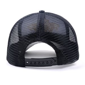 Luxury custom mesh leather hat  gold embroidery leather trucker cap