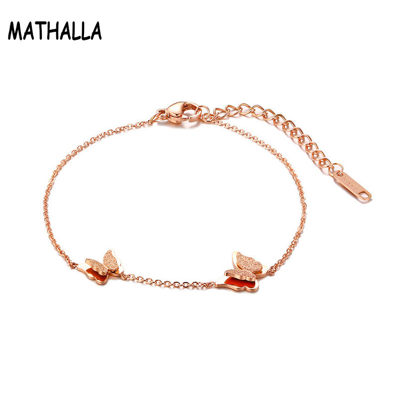 Wholesale Body Jewelry Stainless Steel Butterfly Charm Anklet Rose Gold Rolo Chain Link Anket with Lobster Clasp