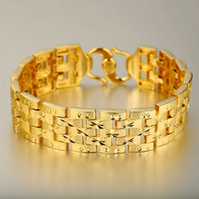 xuping jewelry wide 24k dubai gold plated bracelet men, luxury designs men bracelet