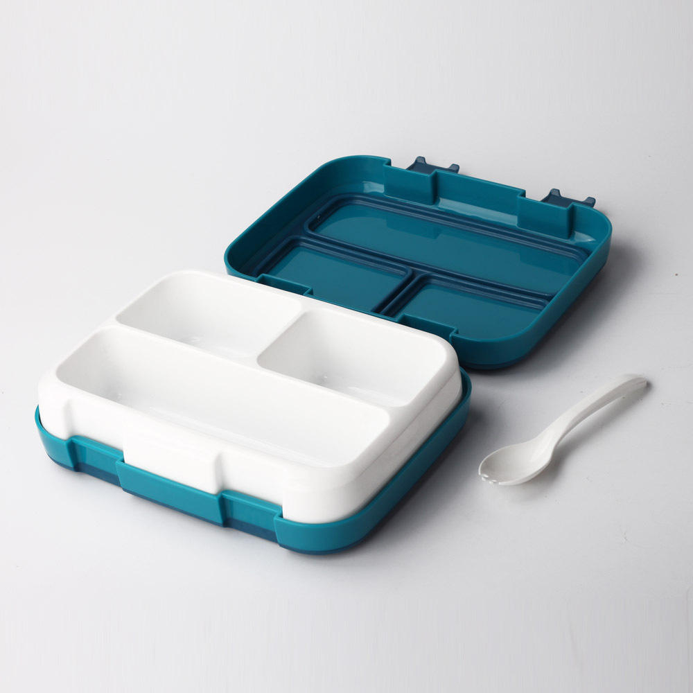 BPA free Full Airtight Leak-Proof Ideal Portion Sizes for Ages 3 to 7 4 Compartment Bento Kids Lunch Box with Spoon