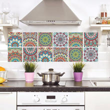 Waterproof removable 3d flower kitchen tile stickers