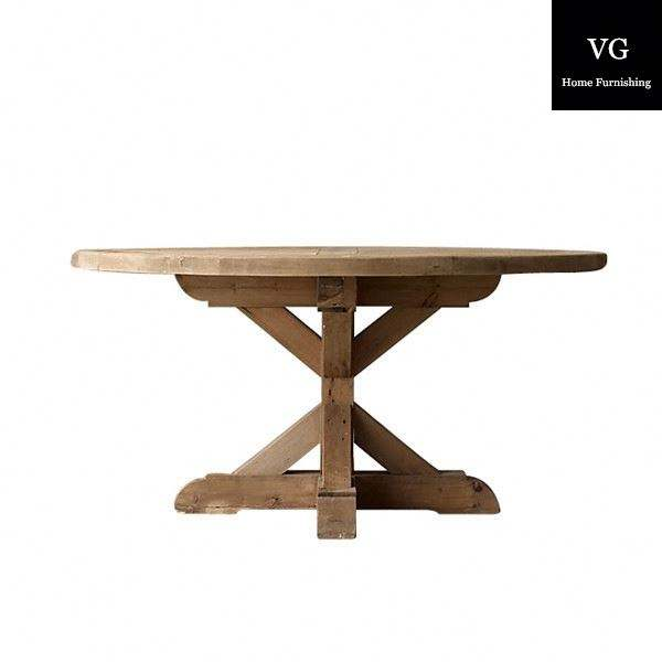Round solid antique Oak dining table Farmhouse Refectory Table antique carved Kitchen Dining table