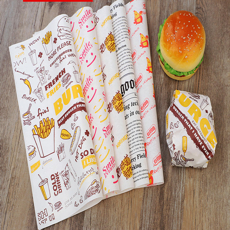 Single Side [ Wholesale Paper Greaseproof ] Greaseproof Greaseproof Paper Wholesale Customized Printed Logo And Size Food Safe Grade Burger Paper Greaseproof Deli Meat Wrapping Wax Coated Paper