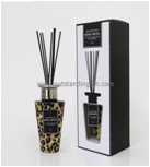 Promotion popular round glass reed diffuser set gift with aromatherapy stick