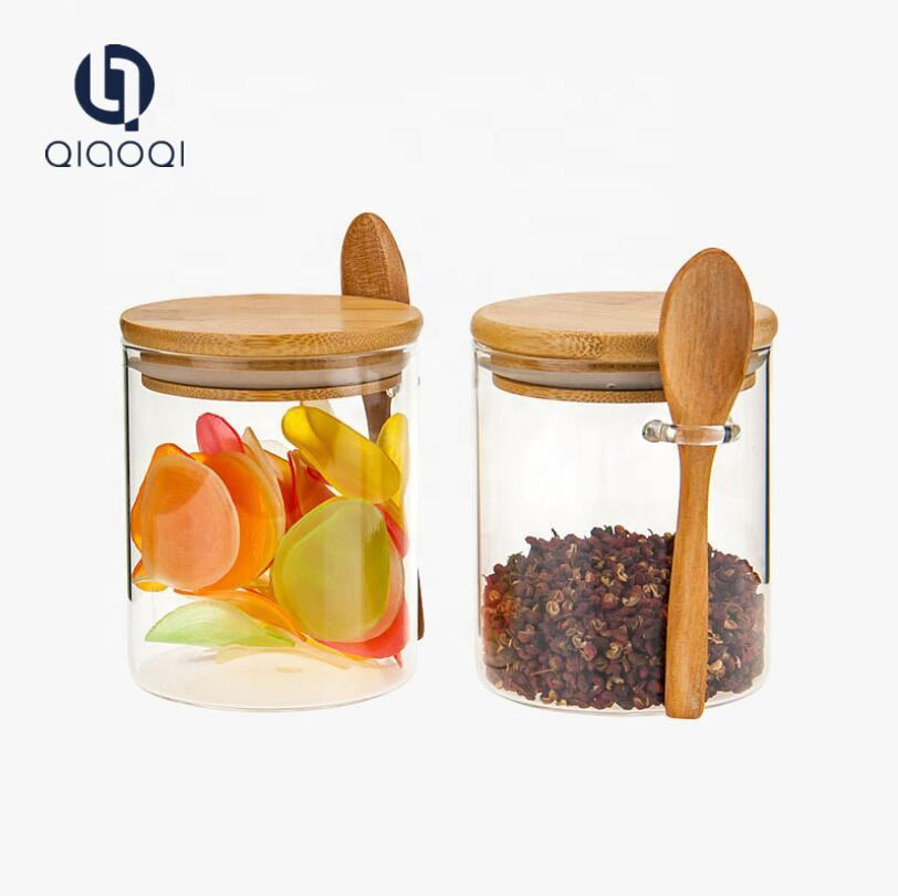 Manufacturer Wholesale custom unique round wide mouth kitchen borosilicate clear airtight recycled empty food glass storage jars