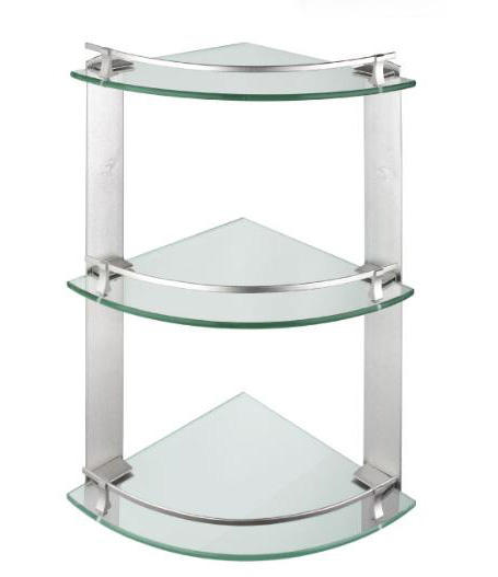 Three layers corner glass shelf,bathroom glass shelf,toilet glass shelf