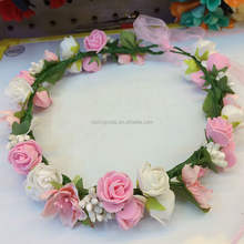 hot sale artificial rose PE flower head wreath for sale