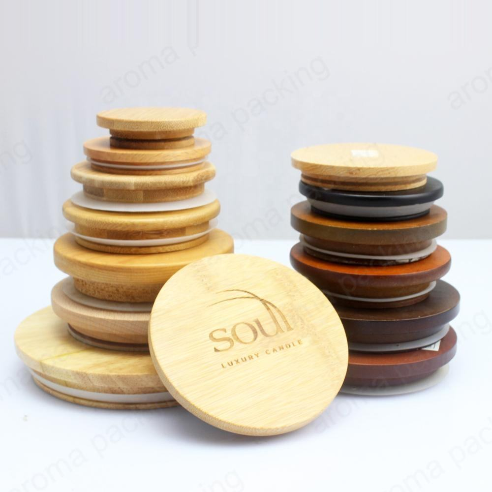 China product customized different size wooden lid for candle jar bottle cap,wood bamboo cap lid for glass jar wholesale