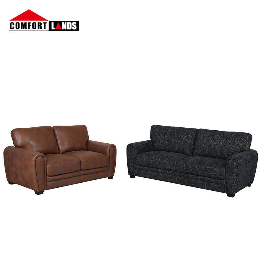 Comfortlands Living classic european simple style furniture oversized fabric & leather sala living room black 3 seater sofa set