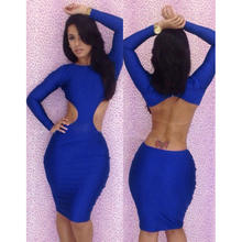 Sexy Above Knee Length Backless Cut Out Evening Party Bodycon Mini Long Sleeve Dress