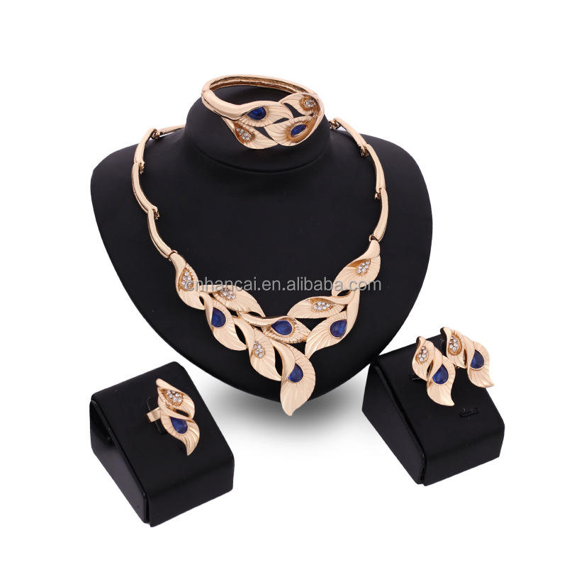 Dubai Vintage Leaves Gold Color Jewelry Sets Nigerian Wedding African Beads Crystal Bridal Jewelry Set Rhinestone Ethiopian