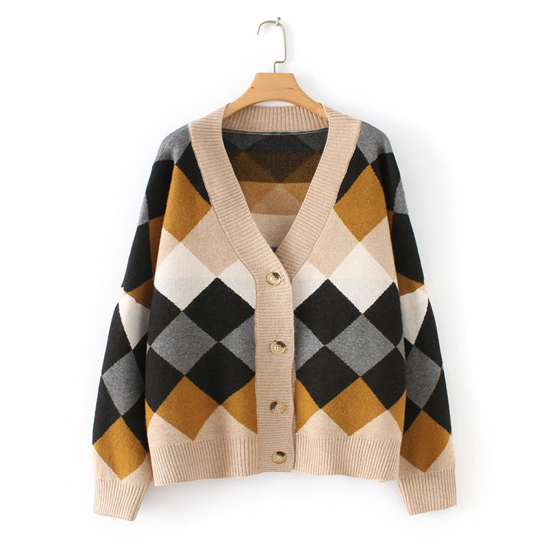 Spring Women's Wool Cashmere Knit Blank Sweater Cardigan with Diamond Jacquard