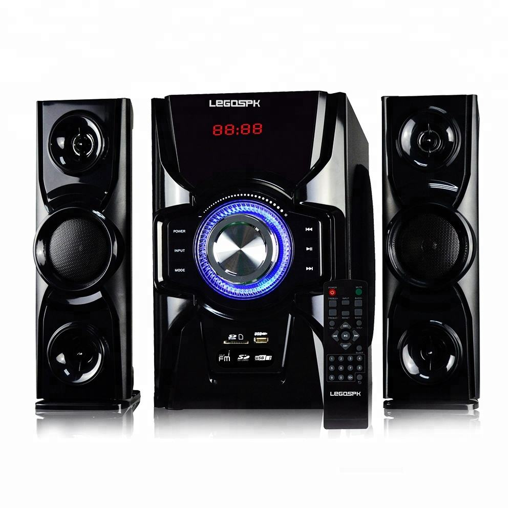 Speaker Multimedia Super Bass, Pengeras Suara Kotak Kayu Subwoofer dengan Sistem Home Theater 2.1