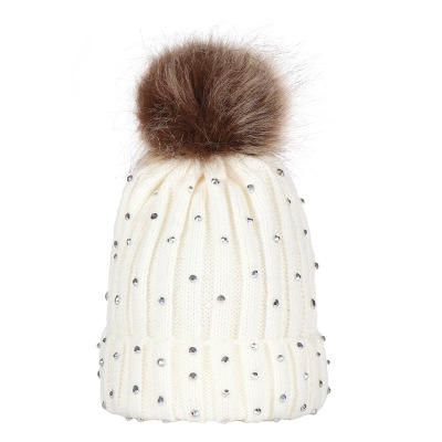 Newborn baby boy girls lovely knitted pompon beanies caps hat warm winter sequins crochet caps