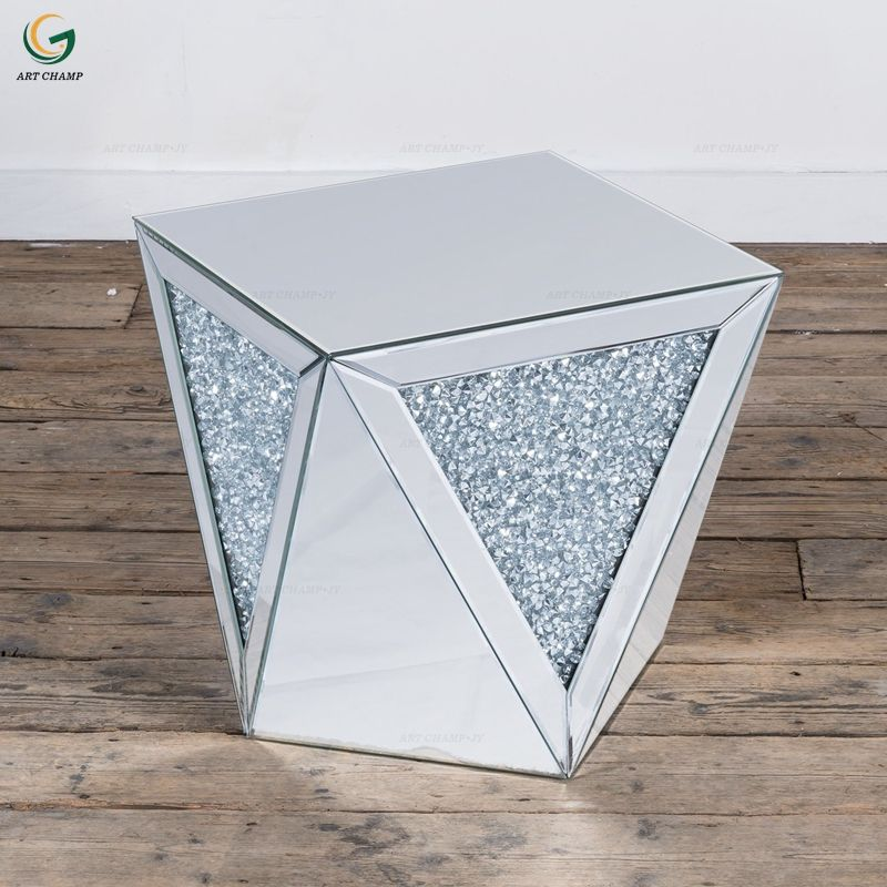 Sparkled living room modern mirrored coffee side table diamond crush furniture