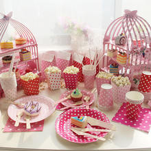 Wedding Dessert Paper Three-layer Birdcage Pink Cake Stand,Disposable Tea Party Supplies