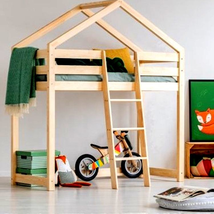 2019 Hot Sale Kids Pine Wood tree house twin bed camping