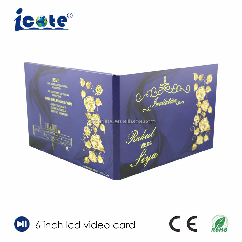 Cote Customized design 6.0 inch wedding invitation brochure card with TFT LCD video screen